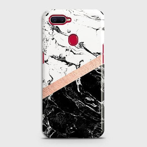 3D Black & White Marble With Chic RoseGold Strip Case For Oppo A7