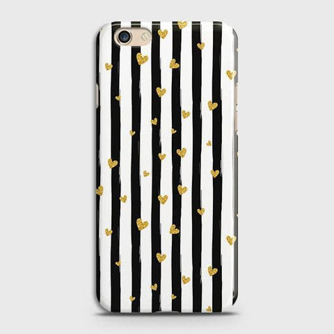 Trendy Black & White Strips With Golden Hearts Hard Case For Oppo R9s Plus