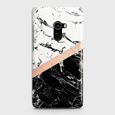 3D Black & White Marble With Chic RoseGold Strip Case For Xiaomi Mi Mix 2