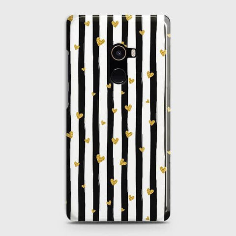 Trendy Black & White Strips With Golden Hearts Hard Case For Xiaomi Mi Mix 2
