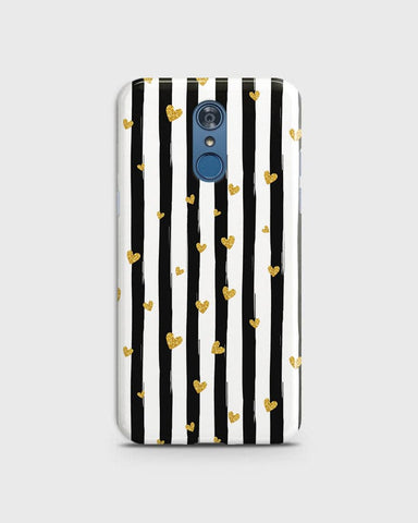 Trendy Black & White Strips With Golden Hearts Hard Case For LG Q7