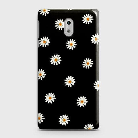 White Bloom Flowers with Black Background Case For Nokia 3