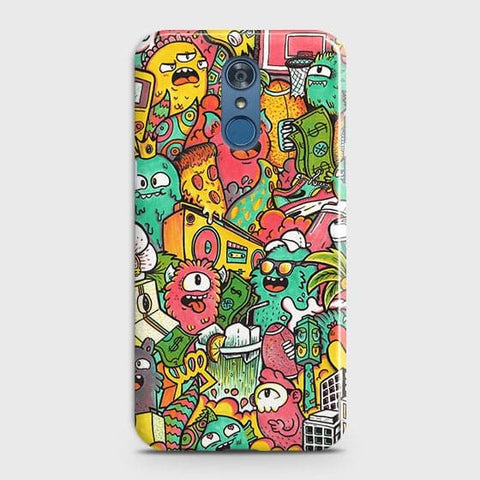 Candy Colors Trendy Sticker Bomb Case For LG Q7