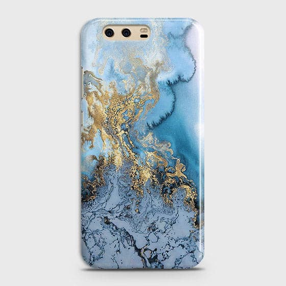 3D Trendy Golden & Blue Ocean Marble Case For Huawei P10