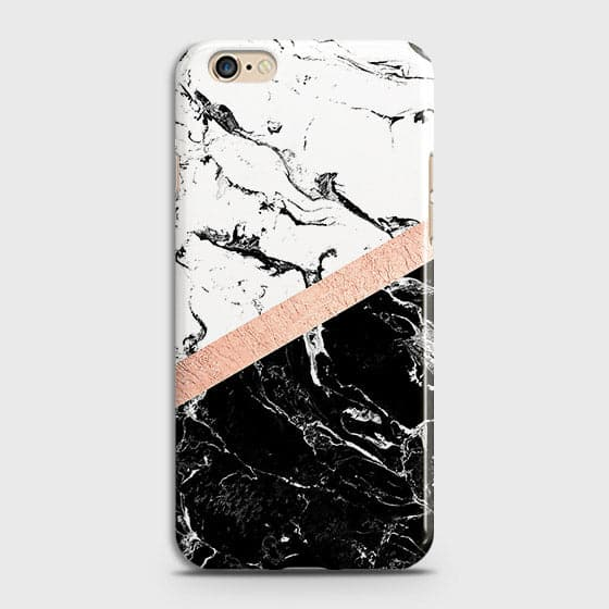 3D Black & White Marble With Chic RoseGold Strip Case For Oppo A57