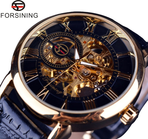 Gold Case Leather Skeleton Mechanical Luxury Watches for Men
