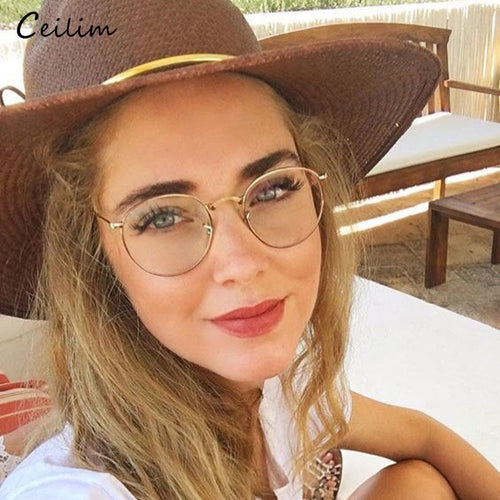 2019 Round Clear Lens Computer Glasses Spectacle Frames Anti Blue Light Goggles Anti Glare Eyeglasses Frame for Women