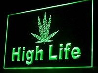 High Life Marijuana Hemp Leaf Led Light Sign