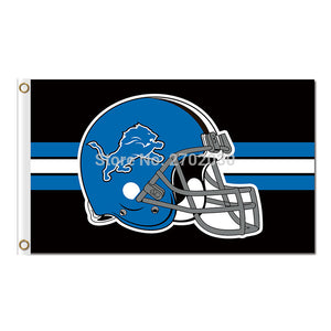 Helmet Disign Detroit Lions Logo Flag Blue Team Super Bowl Champions 3ft X 5ft Banner World Series Lion Flag Banner
