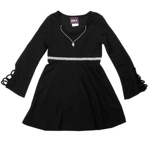 "The ""Alexa"" Knit Holiday Dress W/ Necklace (Black)"