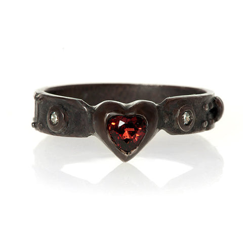 My Heart Red Garnet and Ruby Ring in blackened sterling