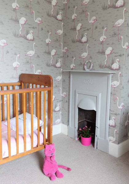 Flamingos Wallpaper by Cole & Son used in a nursery.
