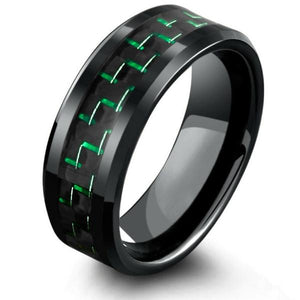 Ceramic Black with Green Carbon Fiber Inlay Beveled Edge Ring