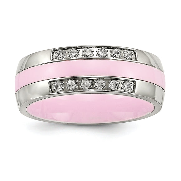 Stainless Steel Polished Pink Ceramic CZ Ring