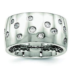 Raindrop Stainless Steel Polished CZ Ring