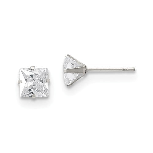 Square CZ Stud Post Earrings