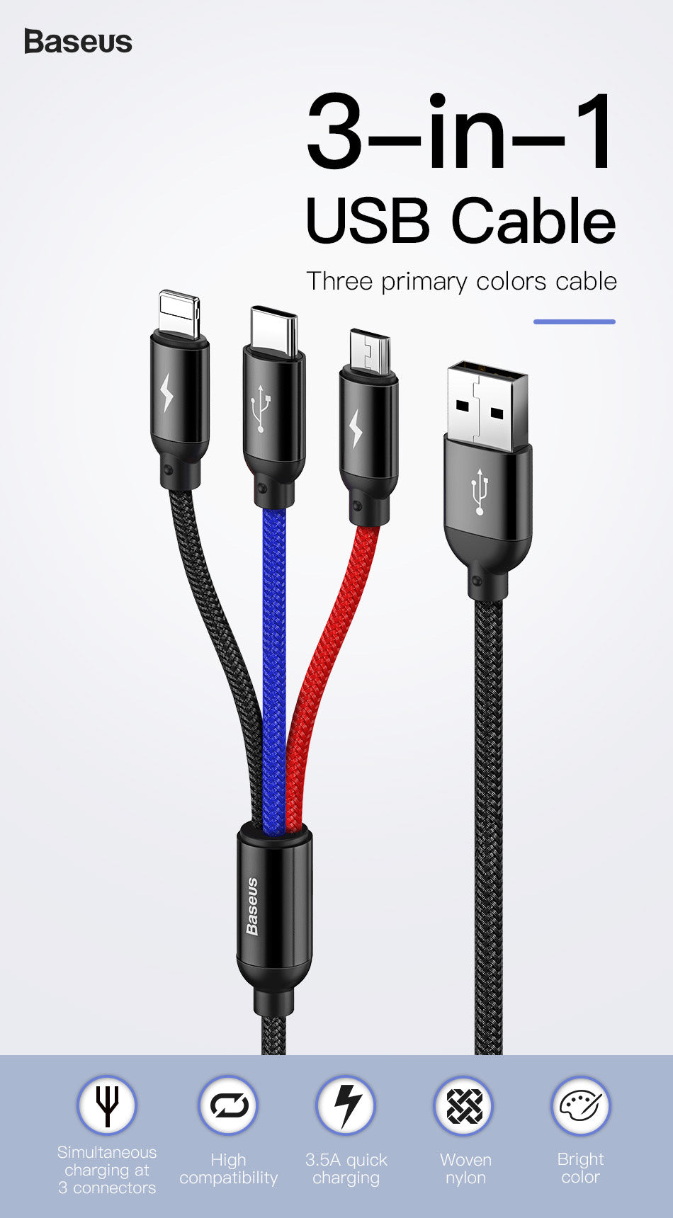3in1 USB Cable for Mobile Phone Micro USB Type C Charger Cable for iPhone Samsung USB Charger Cord