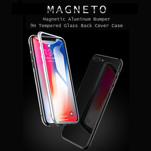 360 Magnetic Magnet Adsorption metal Hard Case Glass Back  Case Cover for iPhone XS Max XR 7 8 Plus X