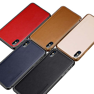Luxury Genuine Leather+Aluminum Metal Frame Case For iPhone XS XR XS Max X Case