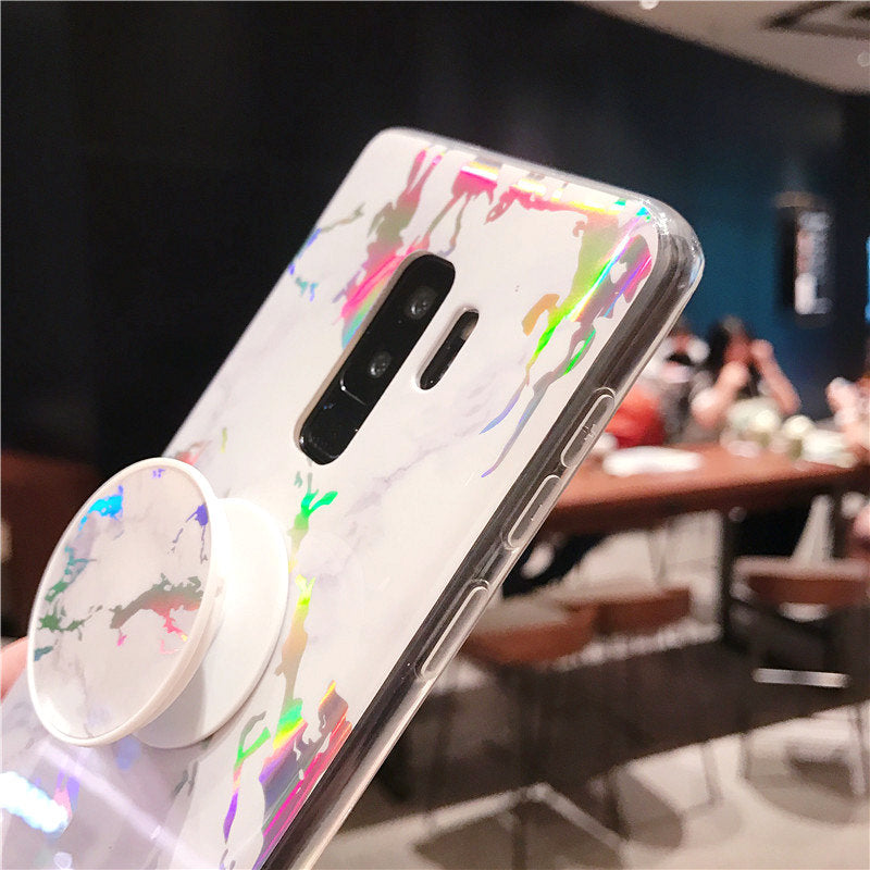 Blue Ray Marble Silicone Glitter Grip Stand Cover Case for Samsung Note 8 Note 9  S8 S9 Plus