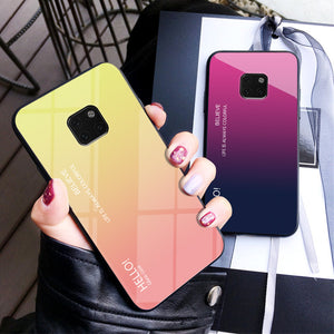 Tempered Glass Luxury Gradient Back Cover Soft Frame Case For Huawei Mate 20 Pro Mate 20 Cover