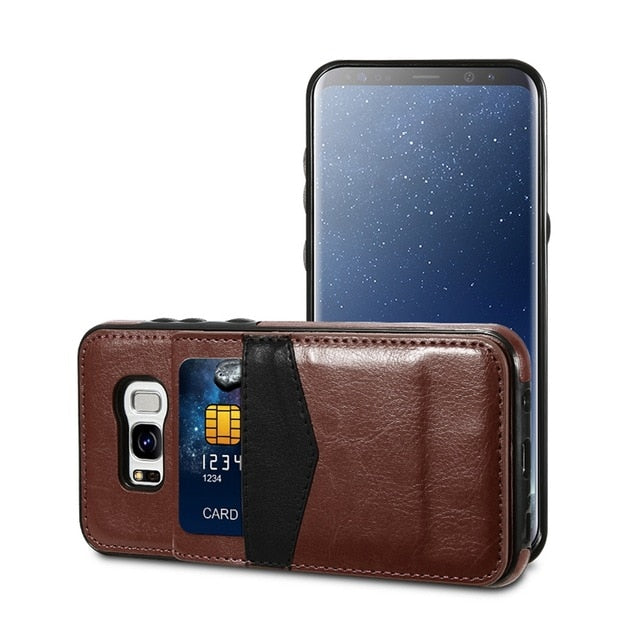Leather Card Holder Back  Flip Case For Samsung Galaxy Note 9 S9 S8 Plus  S7  S7 Edge Wallet Cases