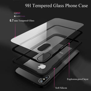 Tempered Transparent Protective Glass Phone Case For iPhone