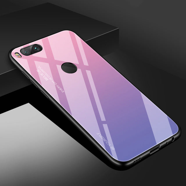 Gradient Tempered Glass Case For Xiaomi Mi8 F1 Redmi Note 5 6 Pro