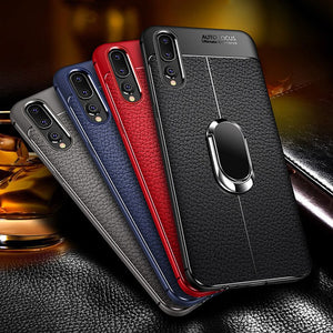 Magnetic Bracket Stand Finger Ring TPU Case For Huawei