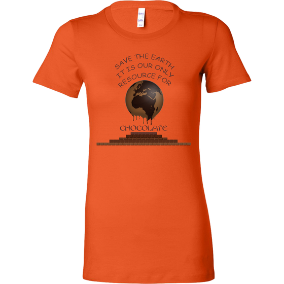 """Save the Earth for Chocolate"" Melting Cacao Earth Women's Shirt"