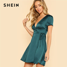 Load image into Gallery viewer, Green Deep V Neck Satin Dress