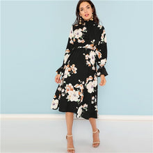 Load image into Gallery viewer, Black Print Mock Neck Pleated Panel Floral Dress