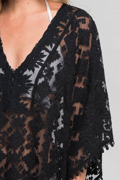Black Sheer Crochet Coverup