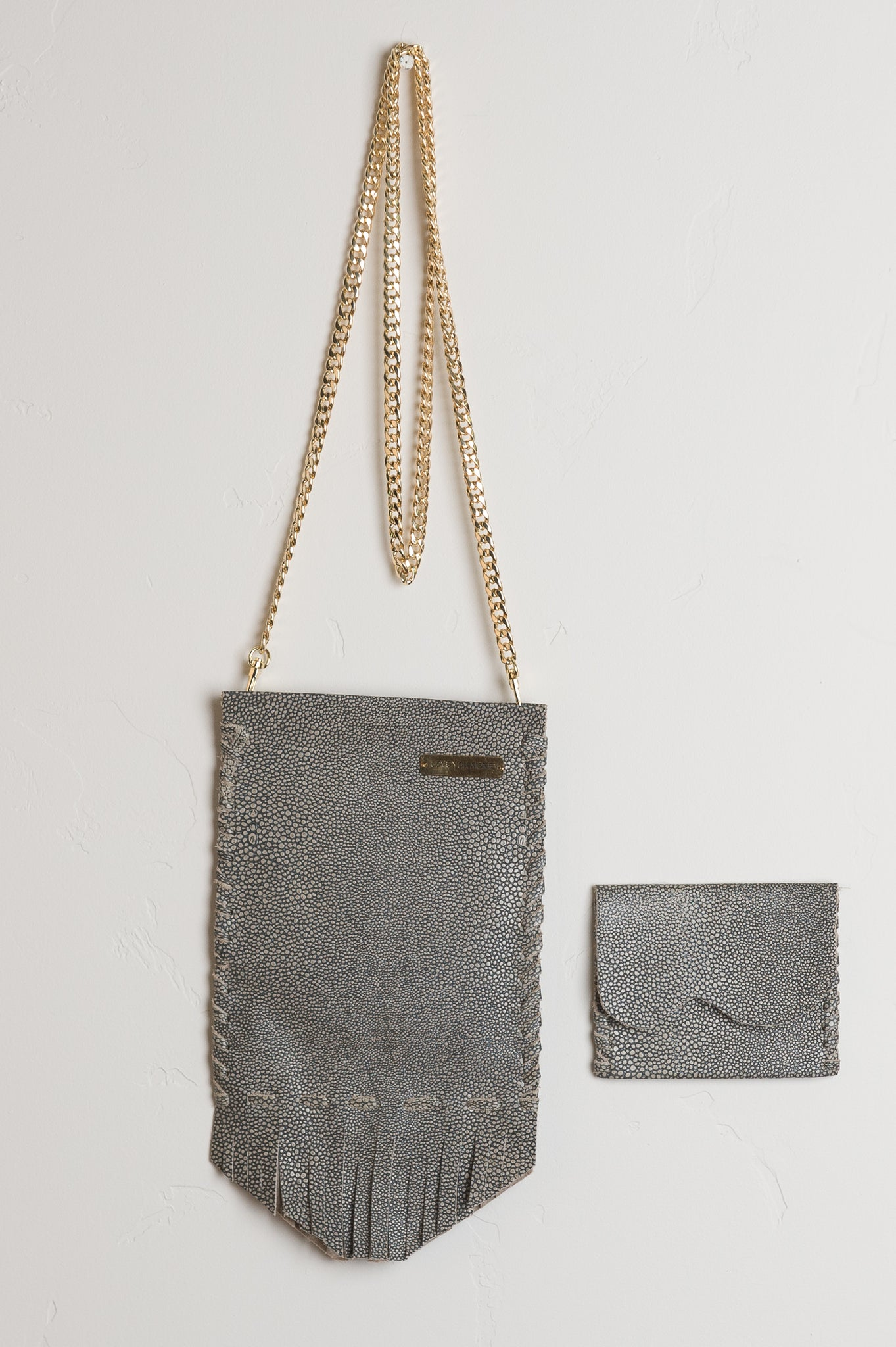 Crossbody Coachella Leather Bag - Grey