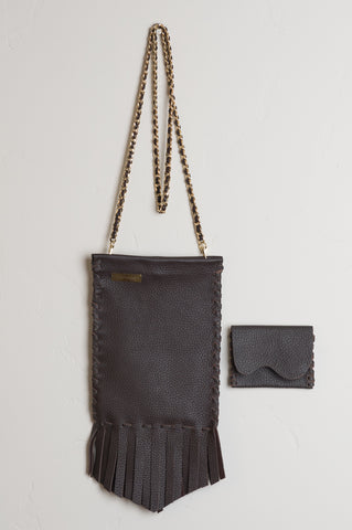 Crossbody Coachella Leather Bag - Chocolate