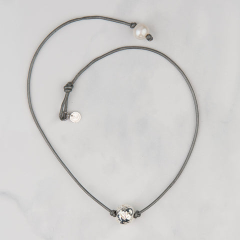Silver Hammered Bead Necklace