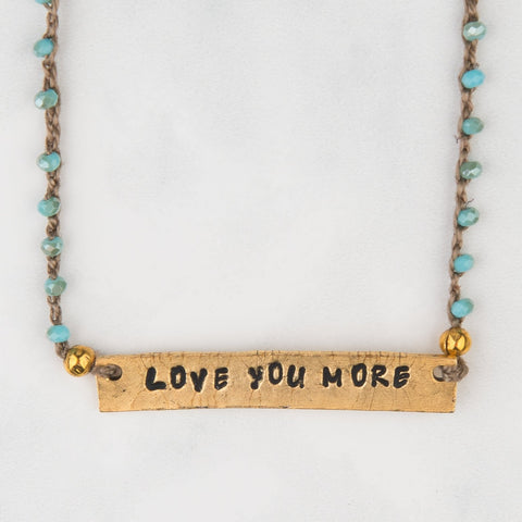 Beaded Love U More Plaque Necklace
