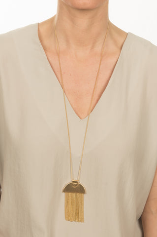 Gold Flat Tassel Necklace