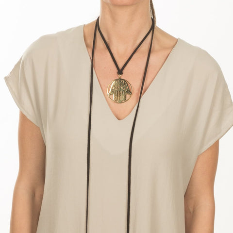 Gold Medallion Wrap Necklace
