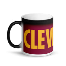 Load image into Gallery viewer, Cleveland Wine and Gold Matte Black Magic Mug