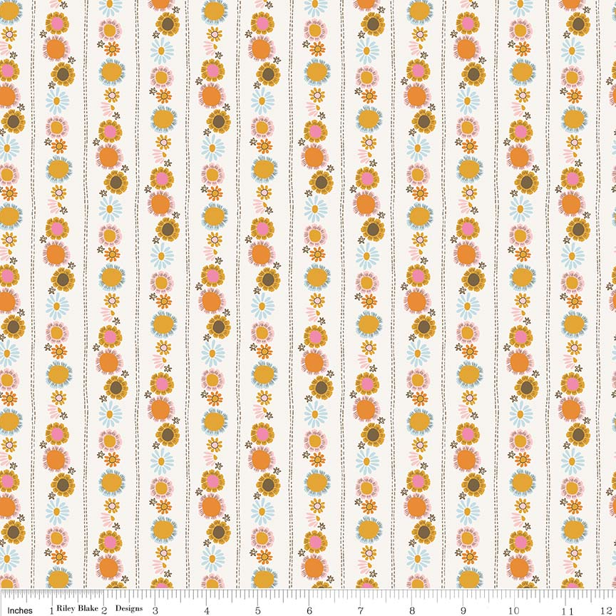 Guinevere by Citrus & Mint | Cream Daisy Chain Fabric