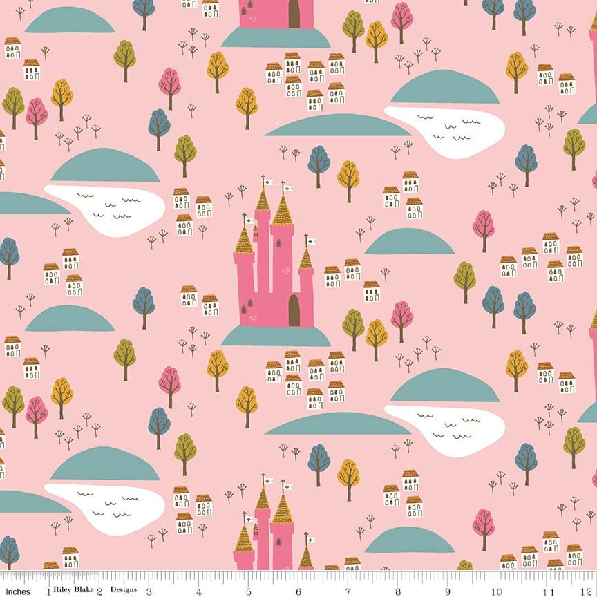 Guinevere by Citrus & Mint | Pink Castle Fabric</br>END OF BOLT </br>2 yds + 21""