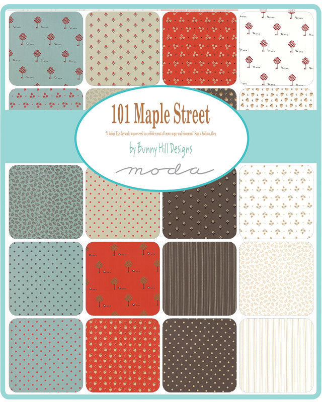 101 Maple Street by Bunny Hill Designs | Aqua Tiny Vines Fabric