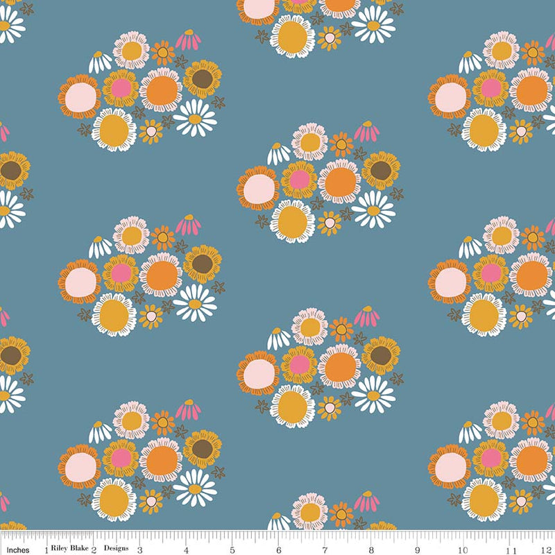Guinevere by Citrus & Mint | Dark Blue Flower Fabric
