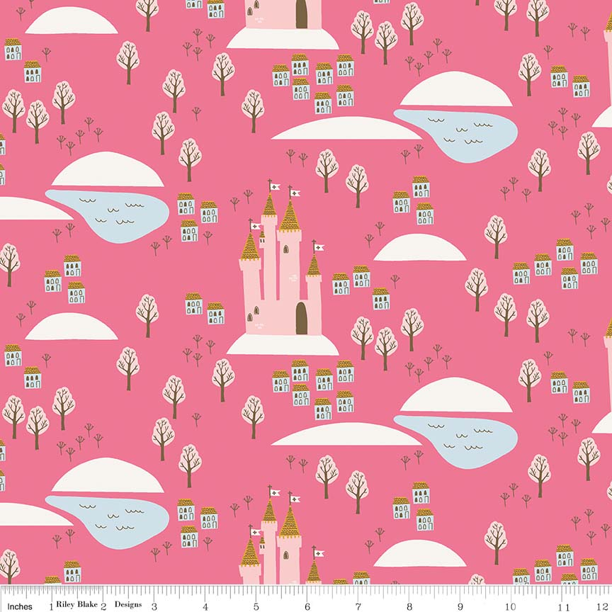 Guinevere by Citrus & Mint | Hot Pink Castle Fabric