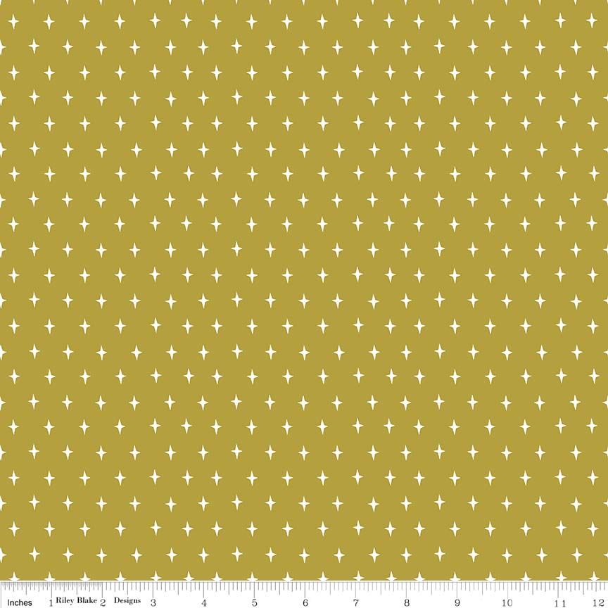 Lancelot by Citrus & Mint | Green Stars Fabric