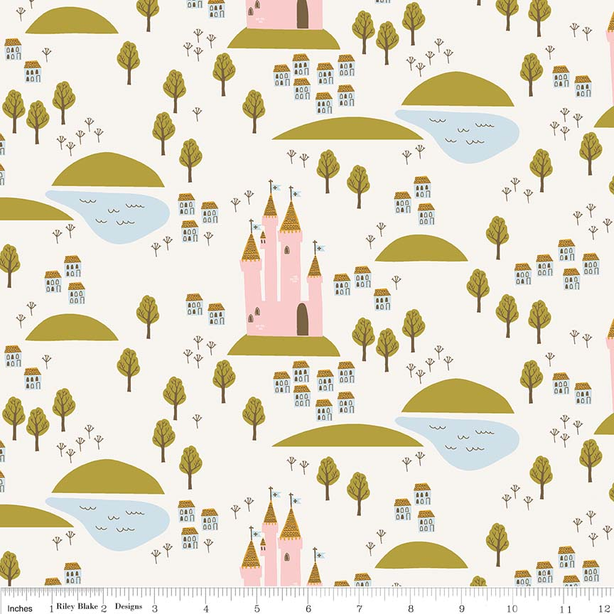 Guinevere by Citrus & Mint | Cream Castle Fabric</br>END OF BOLT </br>21""