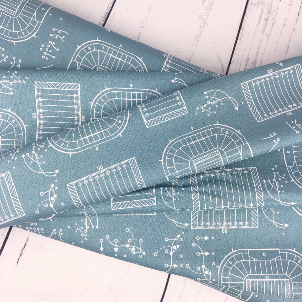 "Game Day by Lori Whitlock | END OF BOLT 1 yds + 18"" - Teal Sports Plays Fabric"