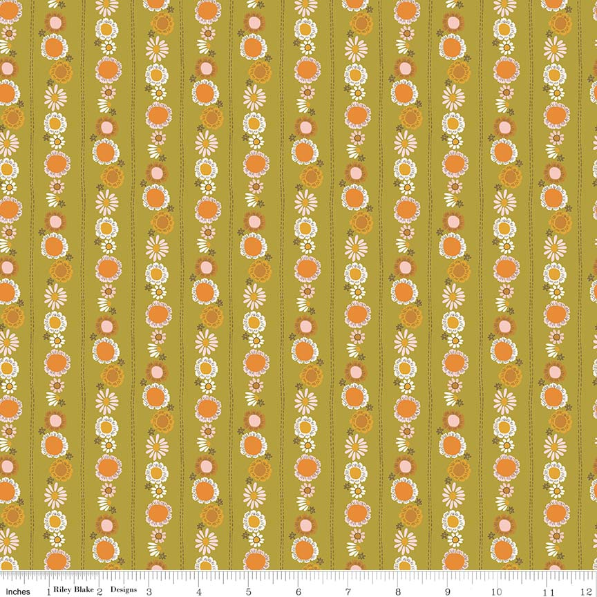 Guinevere by Citrus & Mint | Green Daisy Chain Fabric