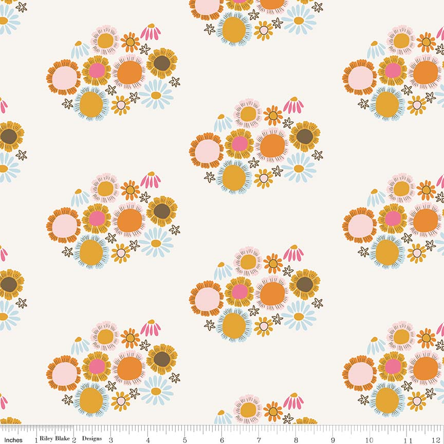 Guinevere by Citrus & Mint | Cream Flower Fabric